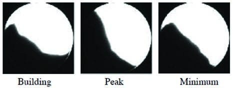 Figure 5. Example images of powder in the rotating drum
